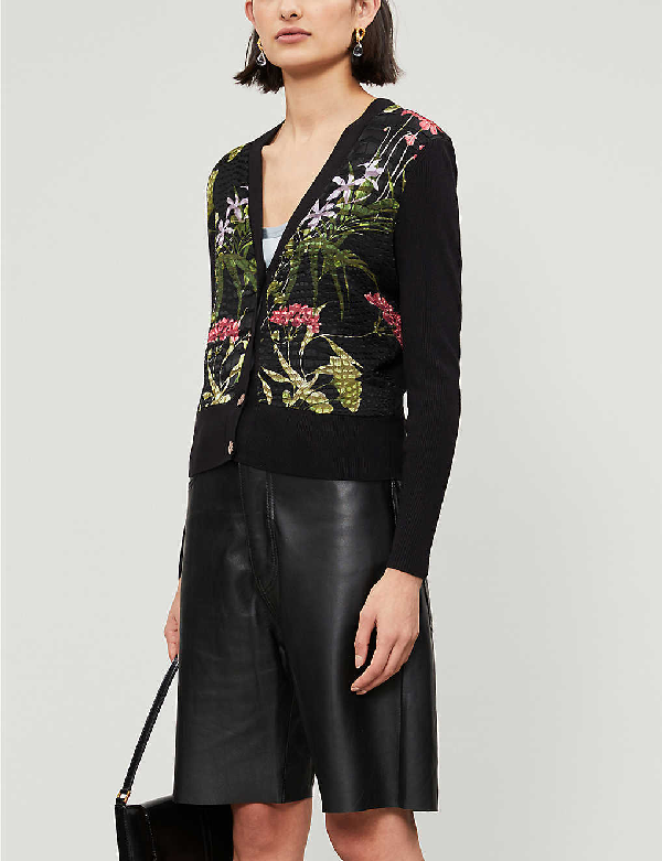 Ted Baker Hyree Highland Woven-front Cardigan In Black