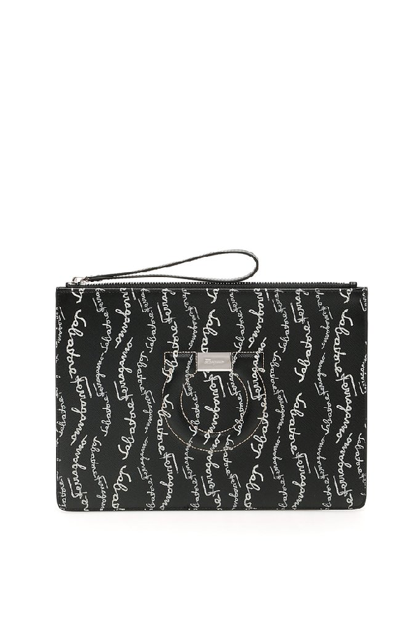 Salvatore Ferragamo All Over Logo Clutch Bag In Black