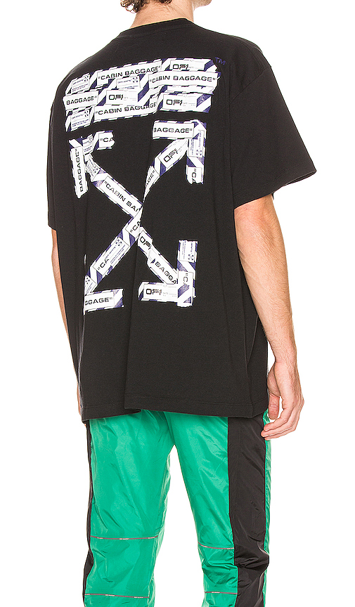 Off-white Oversize Airport Tape Jersey T-shirt In Black & Multi