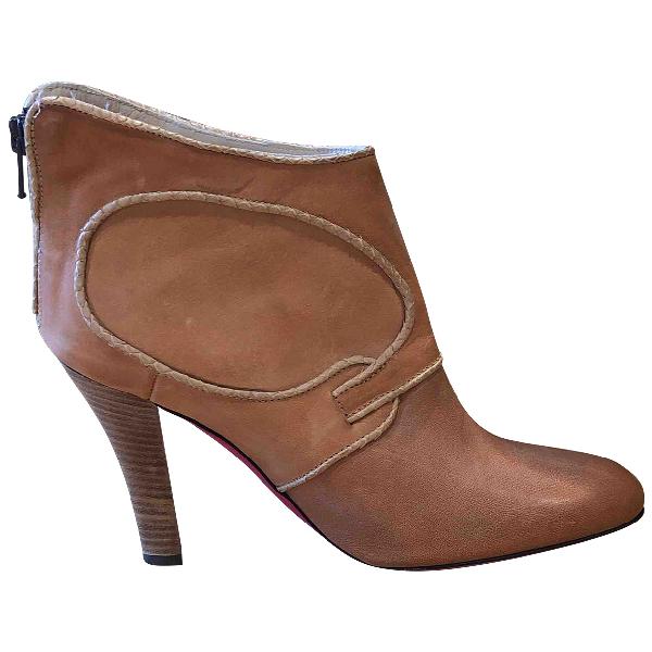 Emanuel Ungaro Camel Leather Ankle Boots