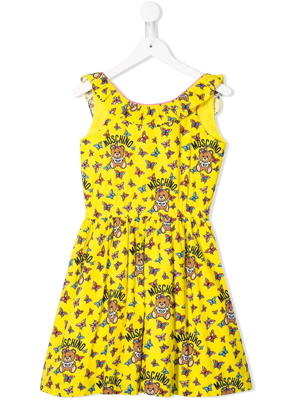 Moschino Teen Butterfly Print Dress In Yellow