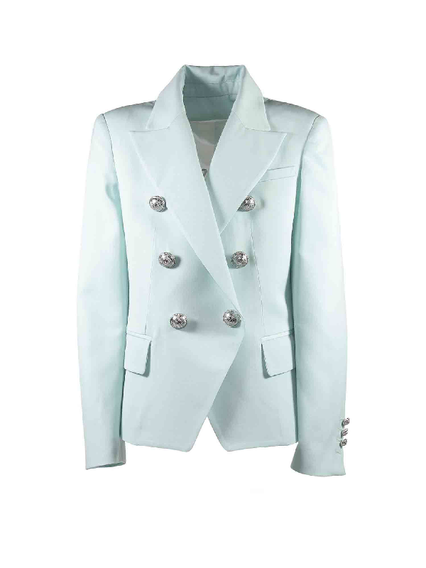 Balmain Kids' Jacket In Light Blue With Embossed Buttons