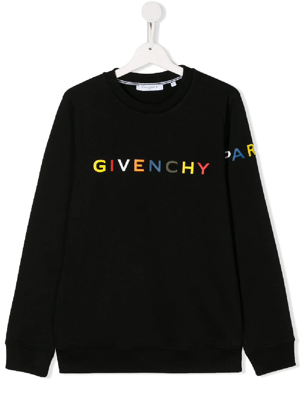 Givenchy Kids' Logo Printed Sweatshirt In Black Cotton