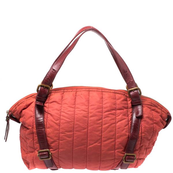 Pre-owned Escada Orange Nylon And Leather Shoulder Bag