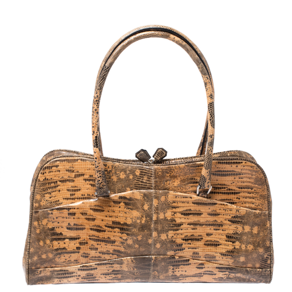 Prada Beige/brown Lizard Frame Satchel