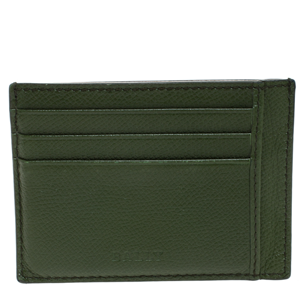 Pre-owned Bally Avocado Green Leather Card Holder