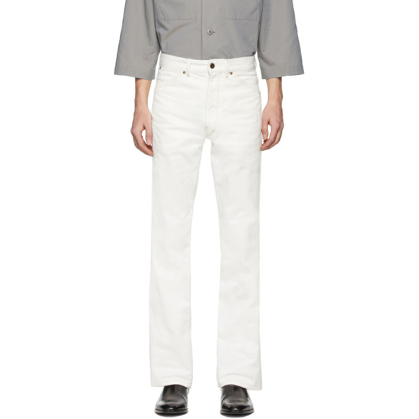 Lemaire Bootcut Cotton Pants In 002 Off Whi