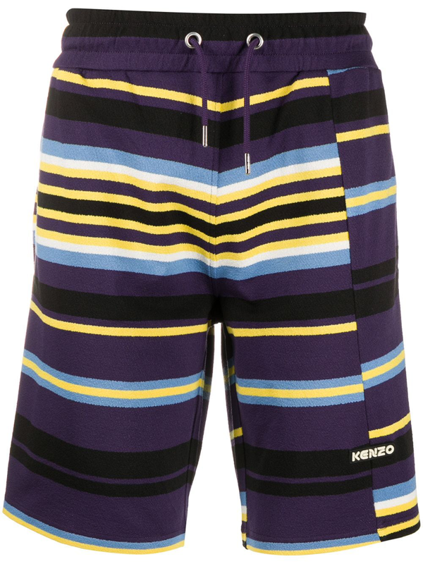 Kenzo Striped Logo Track Shorts In 80 Aubergin