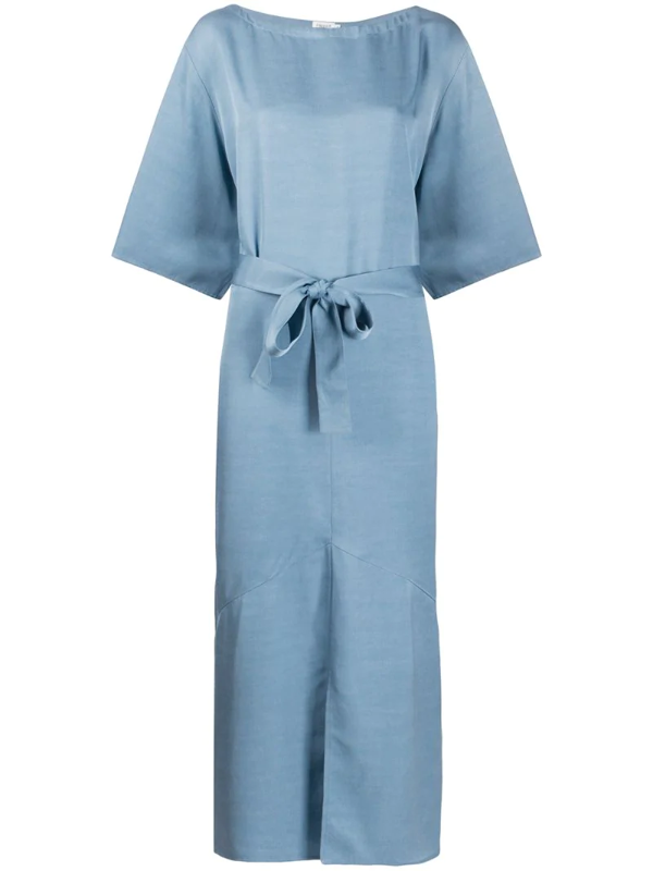 Filippa K Ella Belted Waist Dress In Blue