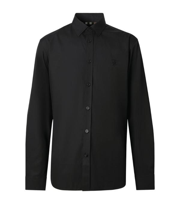 Burberry Monogram Motif Stretch Cotton Popl In Black
