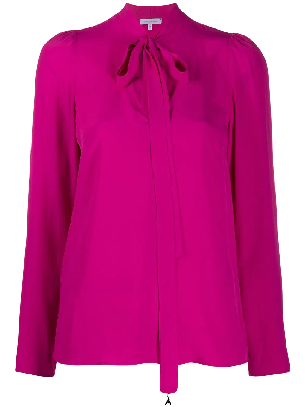 Patrizia Pepe Silk Blend Pussy Bow Blouse In Pink