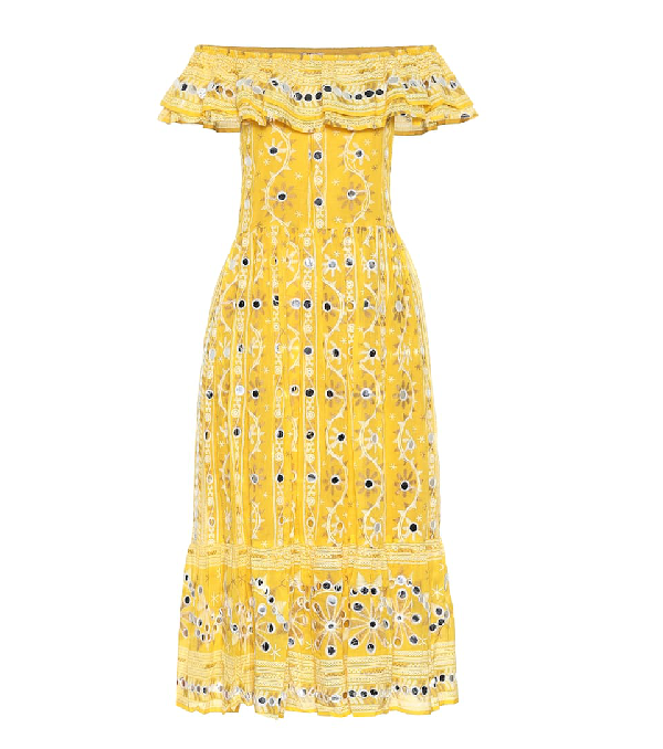 Juliet Dunn Exclusive To Mytheresa - Embellished Cotton Dress In Yellow