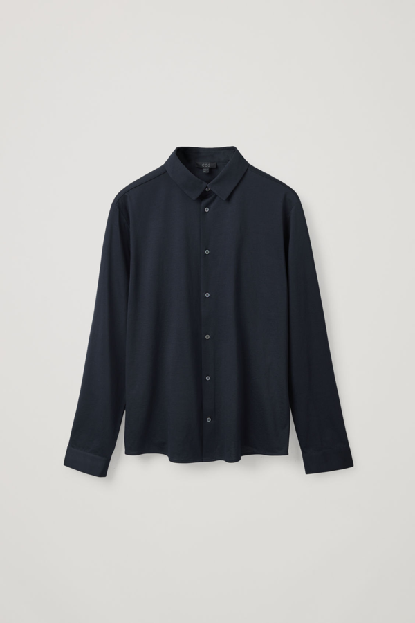 Cos Organic Cotton Jersey Shirt In Blue