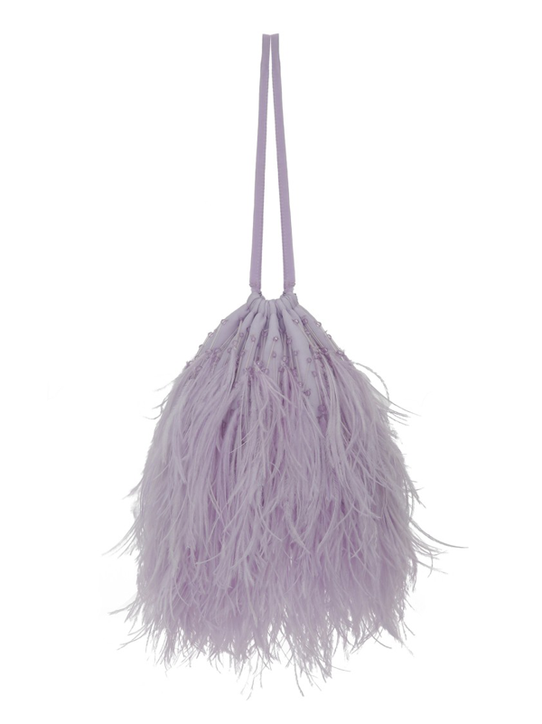 Attico Ostrich Feather Greta Bag In Purple