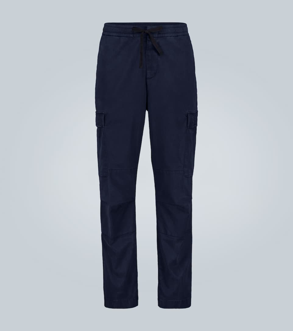 Officine Generale Brushed Twill Cargo Pants In Blue