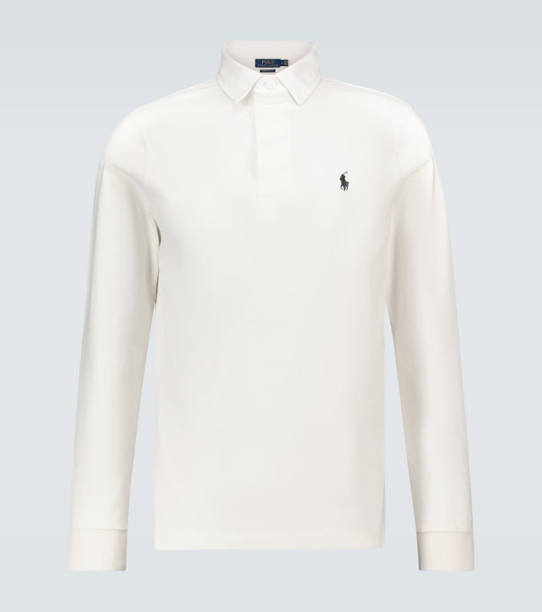 Polo Ralph Lauren Logo-embroidered Cotton-jersey Rugby Shirt In White