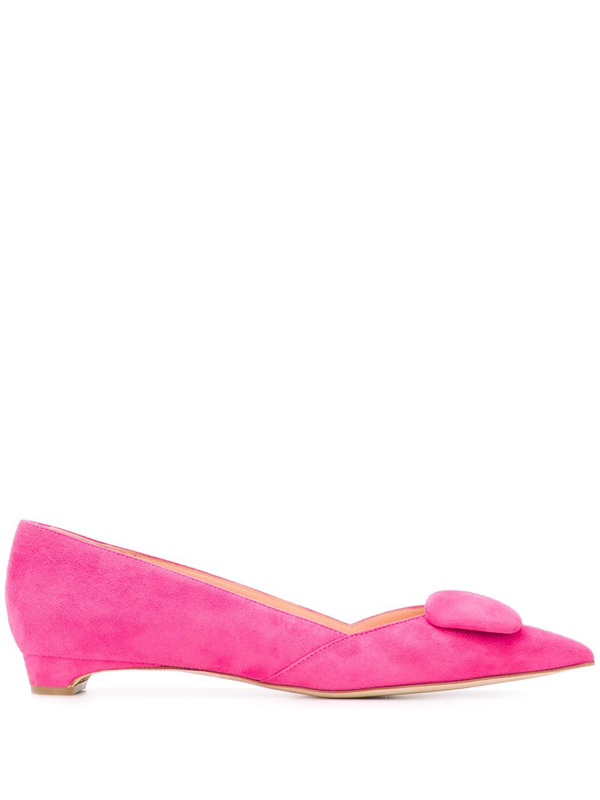 Rupert Sanderson New Aga Pebble Point-toe Suede Flats In Pink