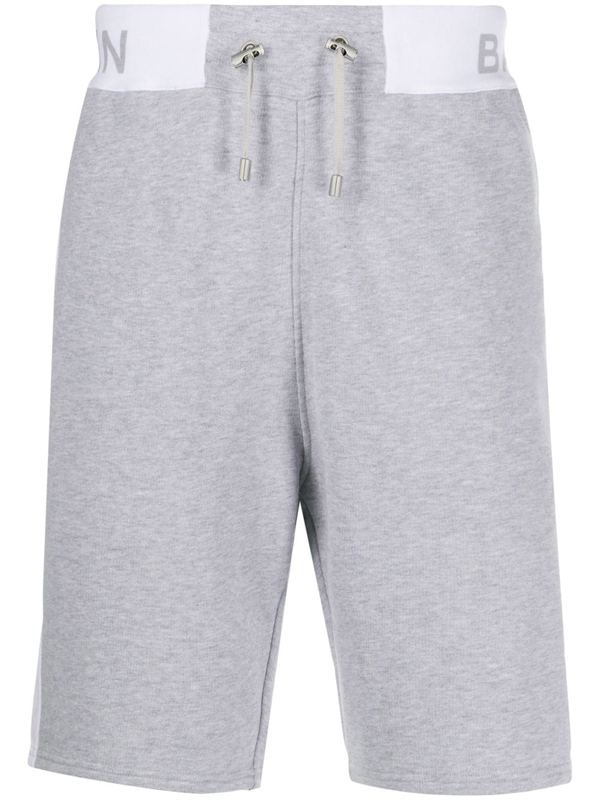 Balmain Logo-printed Track Shorts In Grey