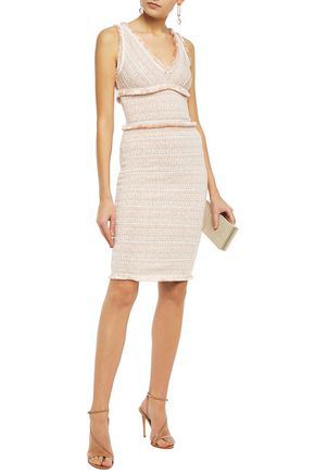 Herve Leger Frayed Jacquard-knit Dress In Blush