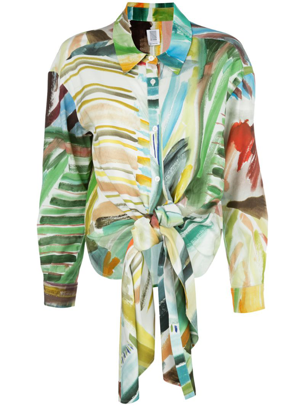 Rosie Assoulin Watercolour Print Knotted Blouse In Multicolour