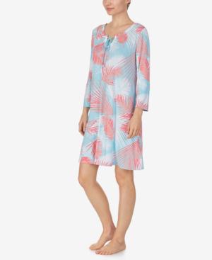 Ellen Tracy Knit Tunic Nightgown In Aqua Leaf
