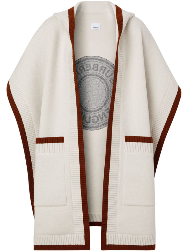 Burberry Logo Graphic Wool Cashmere Jacquard Hooded Cape In Neutrals