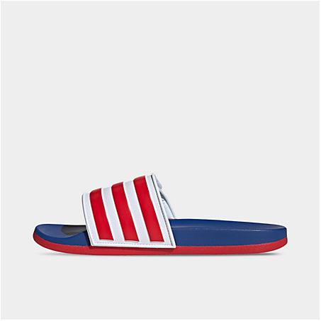 Adidas Originals Adidas Men's Essentials Adilette Comfort Adjustable Slide Sandals In Blue/red