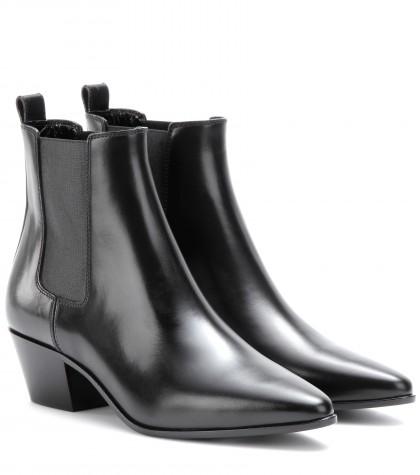 Saint Laurent Rock Leather Chelsea Boots In Eero