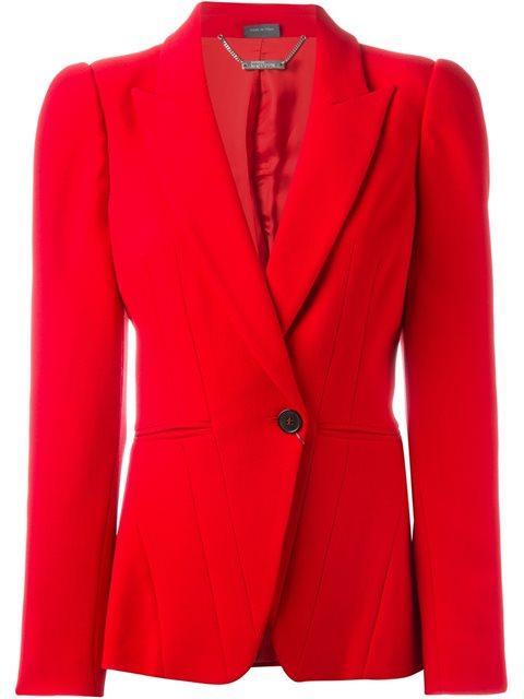 aad3b05de137 Alexander Mcqueen Peak-Lapel Two-Button Crepe Blazer In Red   ModeSens