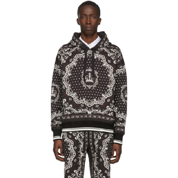 Dolce & Gabbana Dolce And Gabbana Black And White Bandana Hoodie In Hn63c Bandn