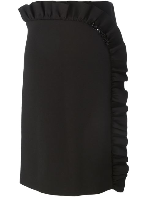 Simone Rocha Embellished Ruffled Stretch-Neoprene Jersey Skirt In Black
