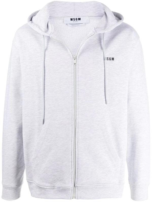 Msgm Zip-up Sweatshirt With Logo Print In Grey