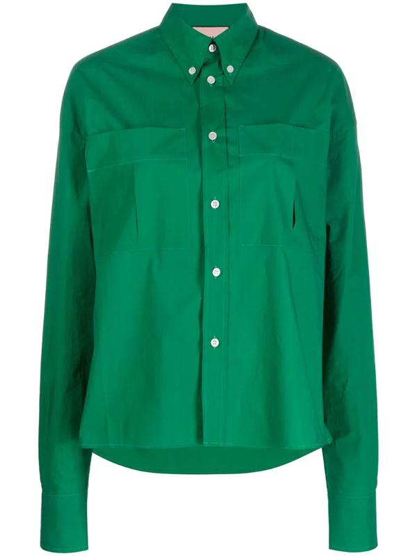 Plan C Oversized Long-sleeve Shirt In Green