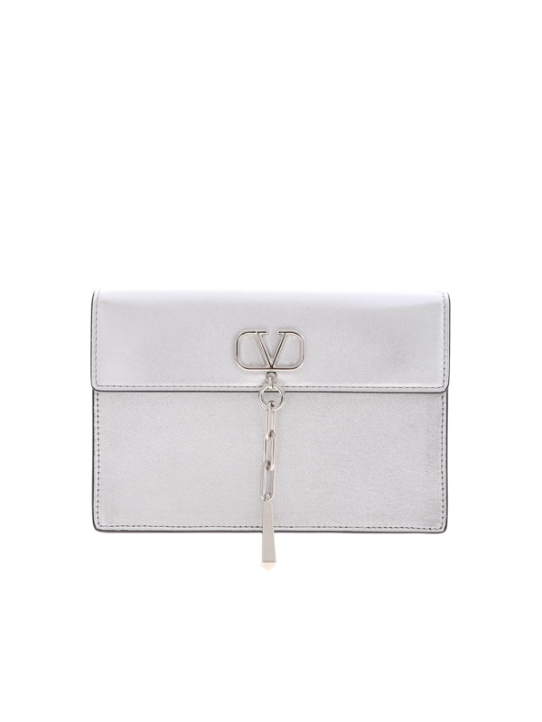 Valentino Garavani Vcase Clutch Bag In  Silver Color