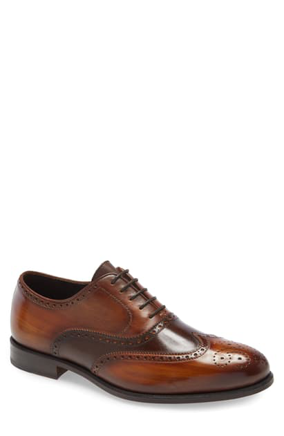 Ike Behar Trezor Wingtip In Brown Cognac