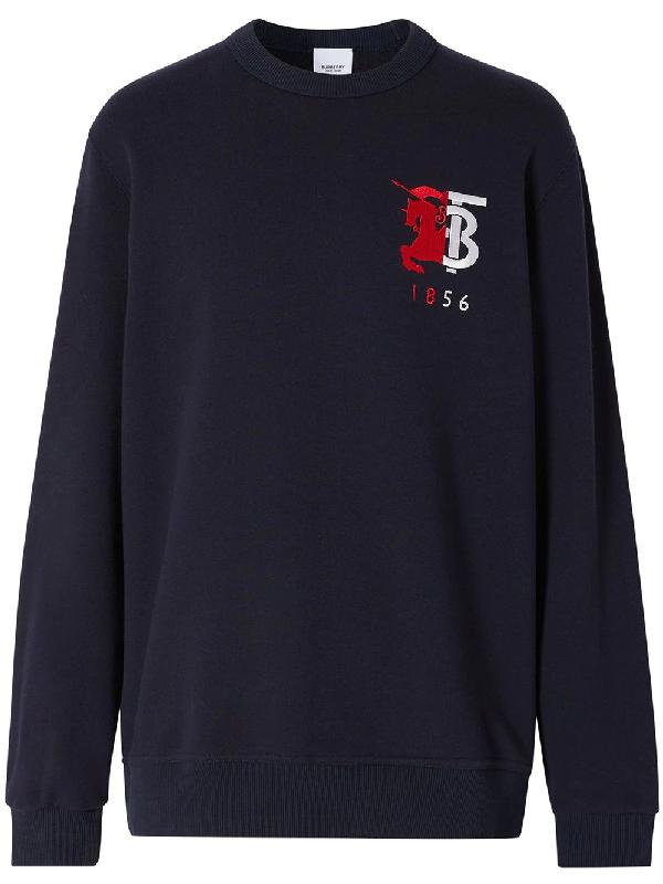 Burberry Contrast Logo Graphic Cotton Sweatshirt In Blue