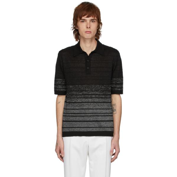 Saint Laurent Lurex-striped Linen-blend Knit Polo Shirt In 1081 Norarg