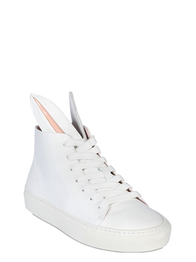 Minna Parikka 20Mm Bunny Calfskin High Top Sneakers, White