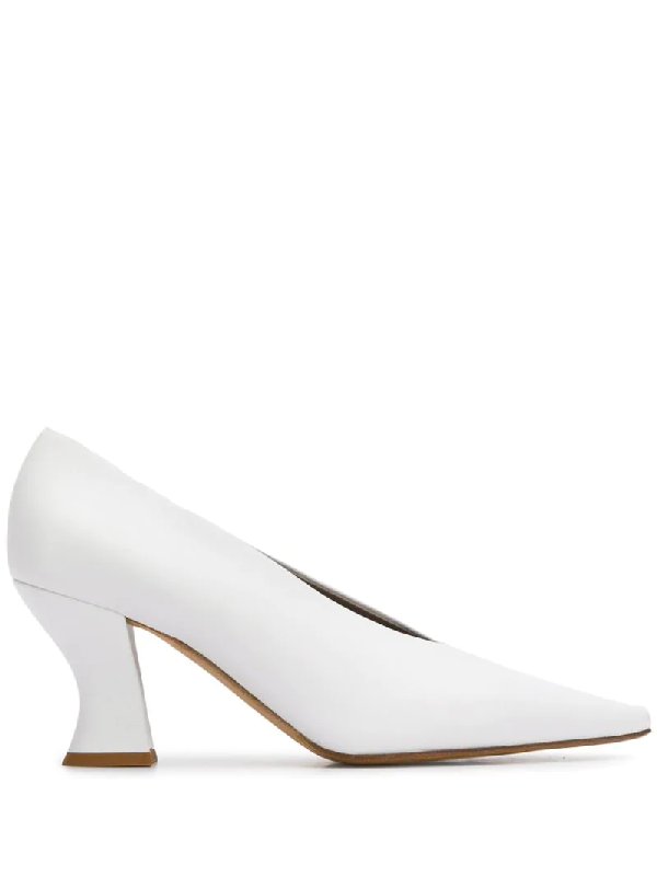 Bottega Veneta High-cut Spool-heel Leather Pumps In White