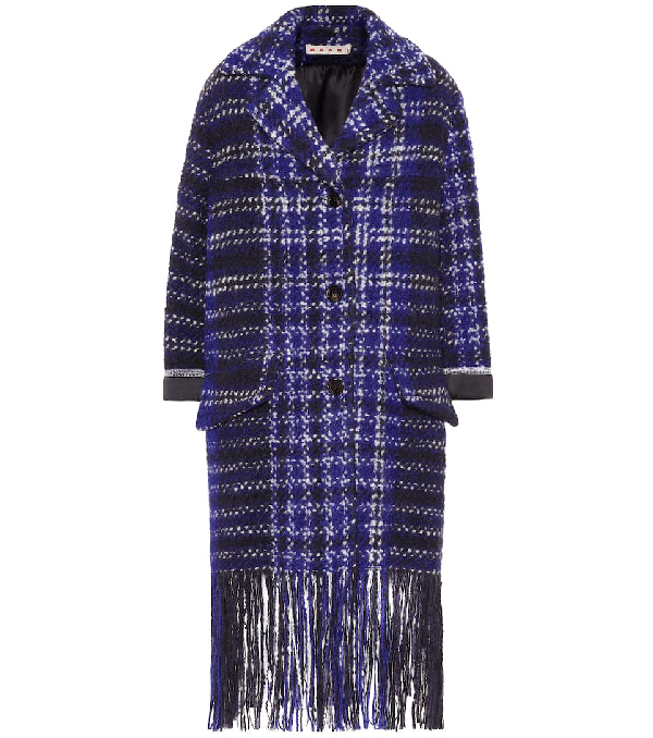 Marni Satin-trimmed Fringed Checked Wool-blend BouclÉ-tweed Coat In Blue