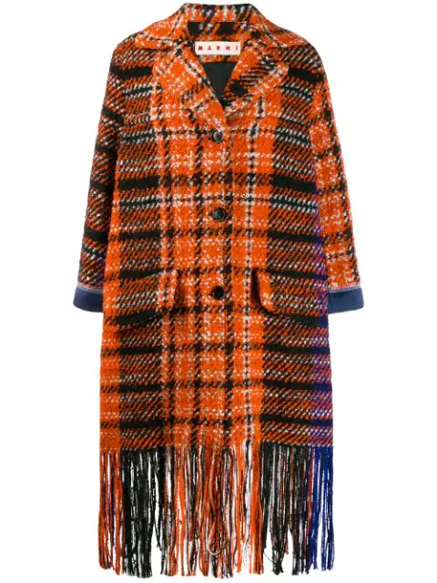 Marni Satin-trimmed Fringed Checked Wool-blend BouclÉ-tweed Coat In Orange