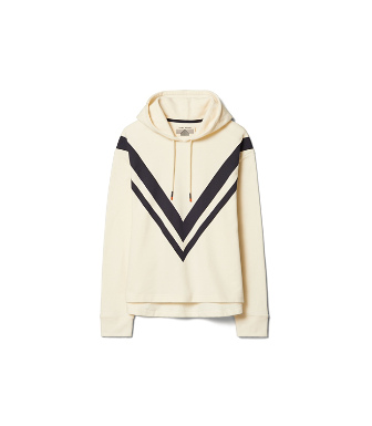 Tory Sport French Terry Chevron Hoodie In Ivory Pearl/tory Navy