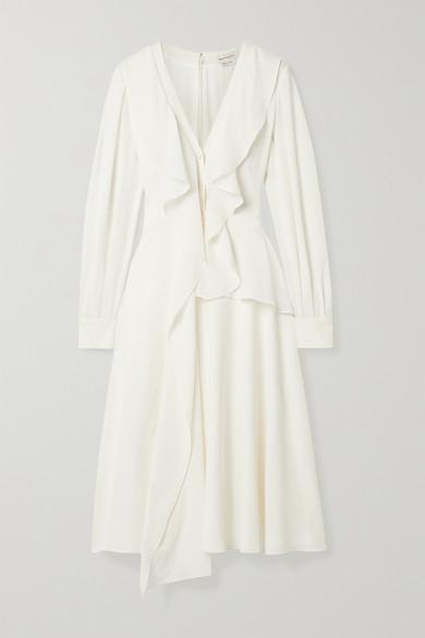 Alexander Mcqueen Ruffled Button-down Silk-georgette Midi Dress In Ivory