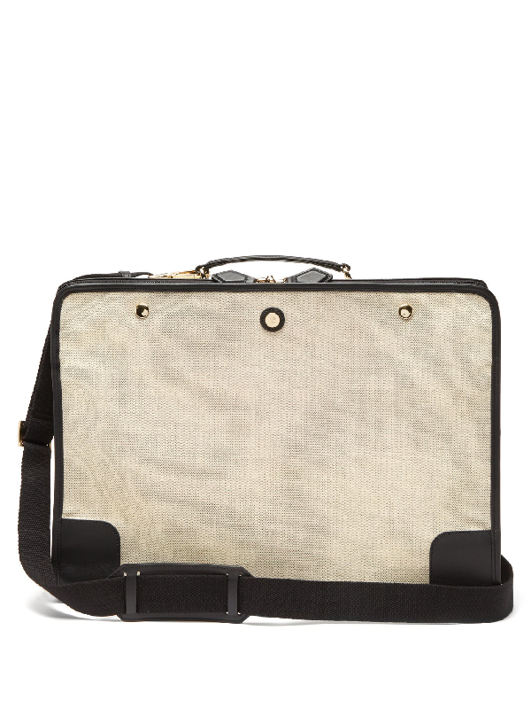 Paravel Stowaway Leather-trimmed Canvas Suitcase In Black Multi