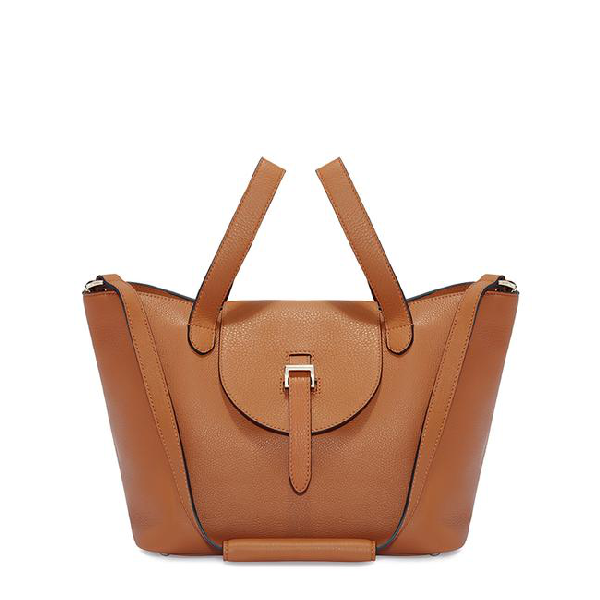 Meli Melo Thela Medium Tan Brown Leather With Zip Closure Tote Bag For Women