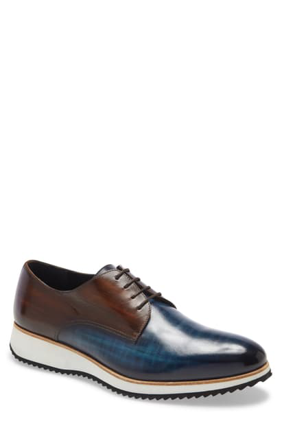 Ike Behar Modus Plain Toe Derby In Denim Cognac