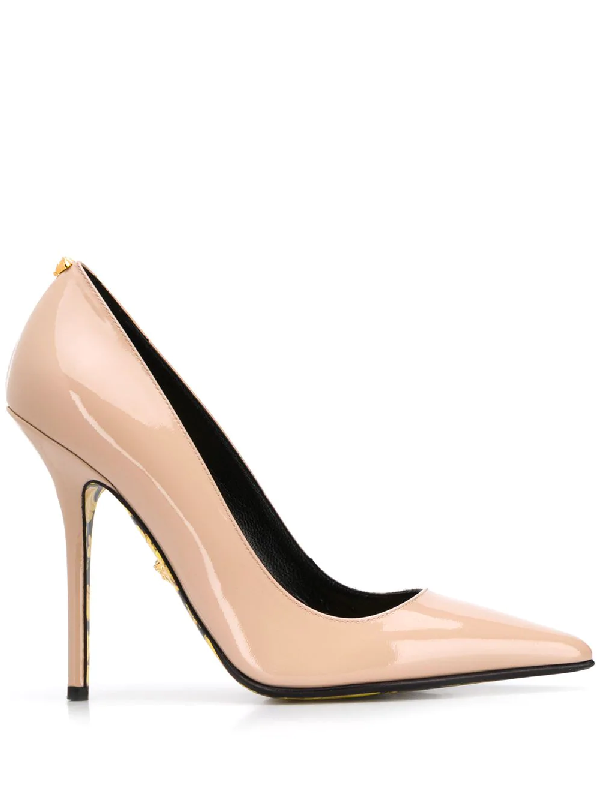 Versace High Heel Pointed Toe Pumps In Neutrals