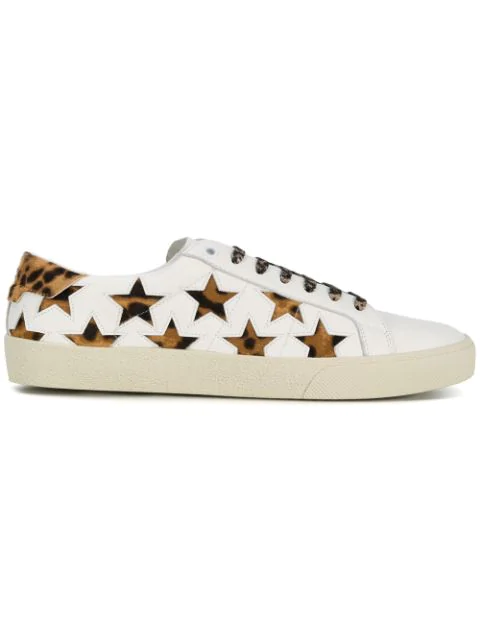 Saint Laurent White Court Classic Pony Hair Leather Sneakers In 9299 White