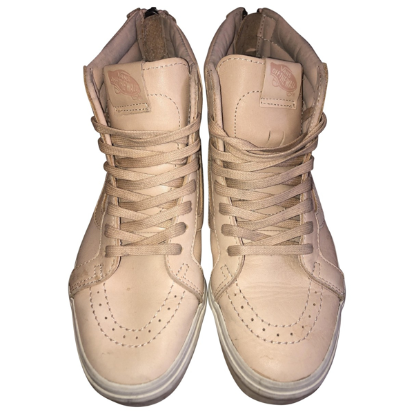 Pre-owned Vans Beige Leather Trainers   ModeSens