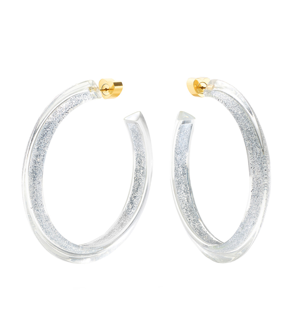 Alison Lou Medium Silver Glitter Jelly Hoops In Gold